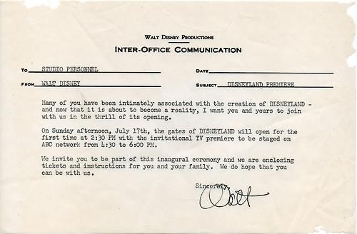 Walt Disney Productions Inter-Office Communication announcing