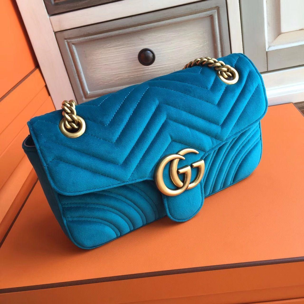 Gucci GG Large Marmont velvet shoulder bag Blue in 2019