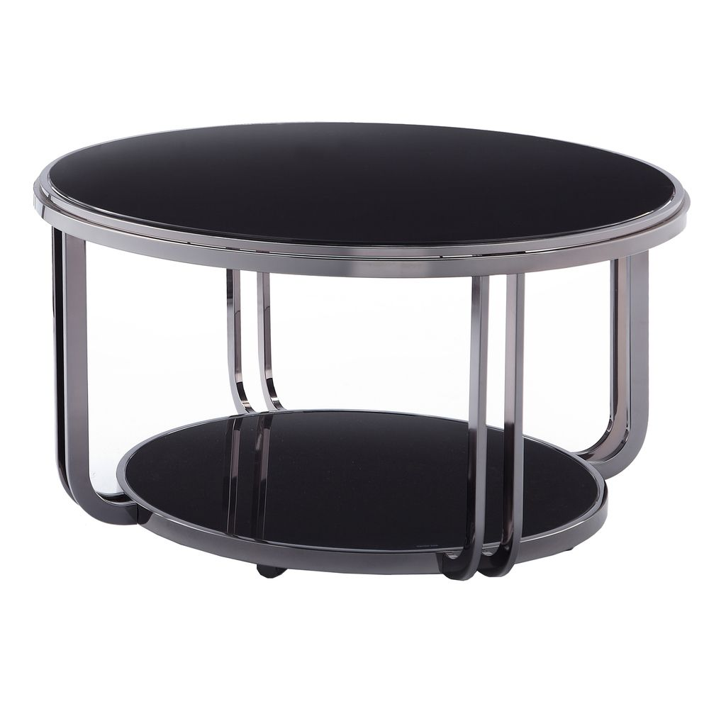 Edison Black Nickel Plated Castered Modern Round Coffee Table by iNSPIRE Q  Bold by iNSPIRE Q