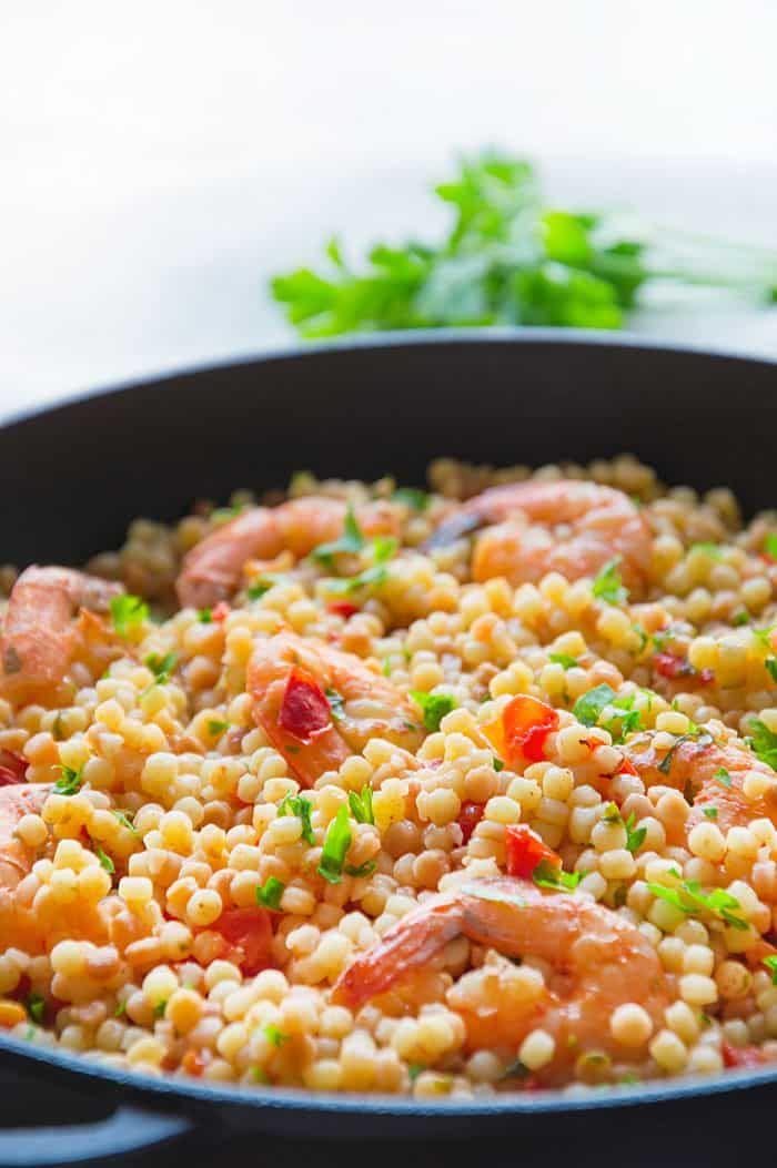 Fregola Sarda with Shrimp & Light Tomato Sauce - Italian Recipe Book