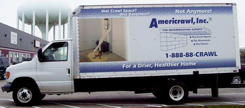 Americrawl Box Truck Graphics Box Truck Wrap Vehicle Graphics Truck Graphics Wet Basement Car Graphics