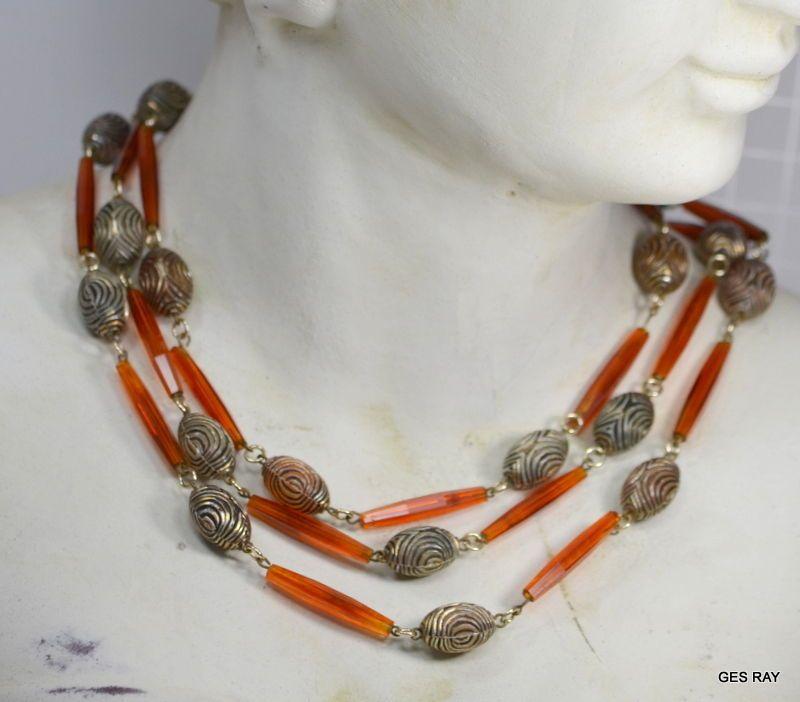 Art Deco faux Amber Carnelian Necklace #ArtDeco