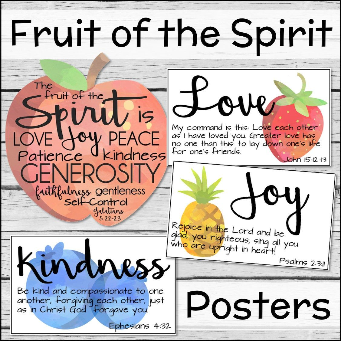 Watercolor Fruit Of The Spirit Posters Instant Download