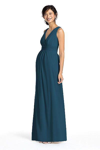 Long Mesh Sleeveless Maternity Dress with V Neck F15759