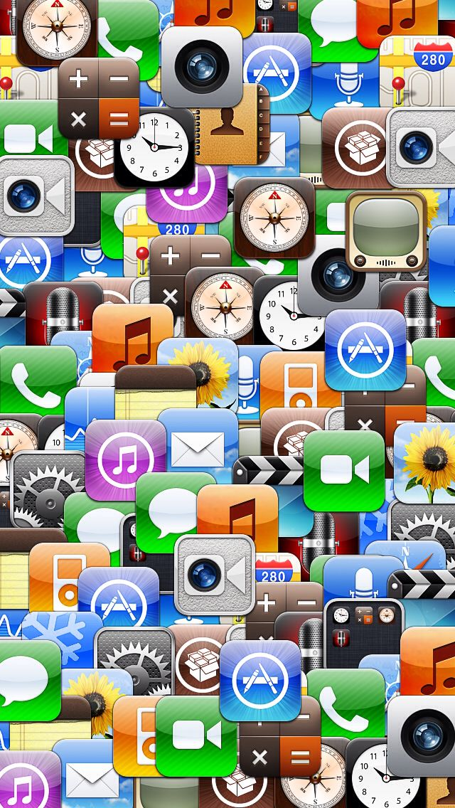 Collage of various iOS app icons. Wallpaper iphone love