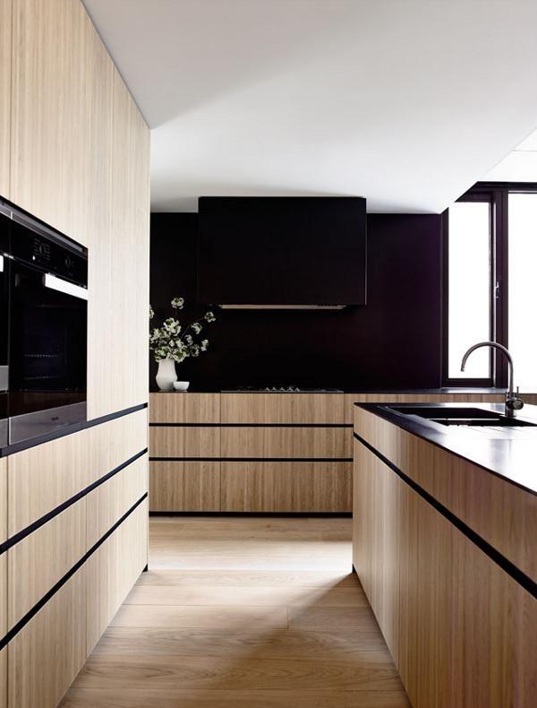 Küchenwand schwarz und Insel Holz u schwarz Küchen Pinterest