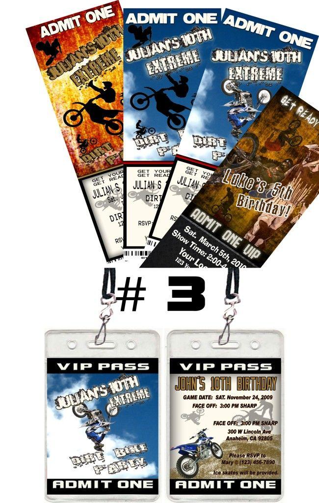 dirt bike atv vip pass birthday party ticket invitations party favors