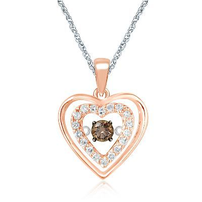 The Beat Of Your Heart 1 7 Ct Tw Champagne White Diamond Pendant In 10k Gold Diamond Diamond Pendant Helzberg Diamonds