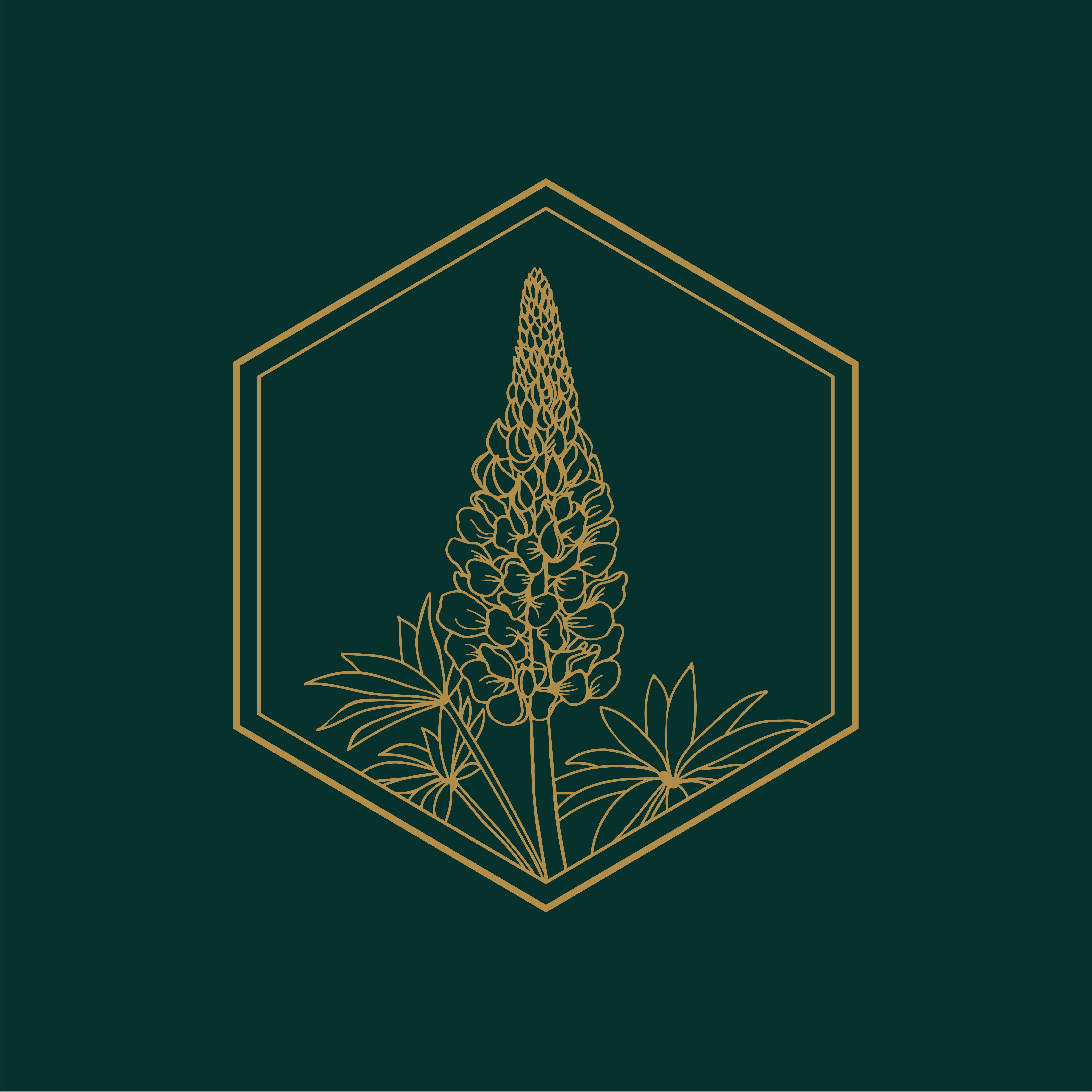 Hunter green and gold floral logo icon design. Wedding