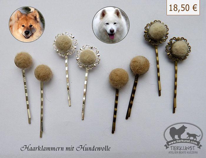 NEU im Tierkunst-Atelier! Haarklammern mit der ausgebürsteten Wolle ...