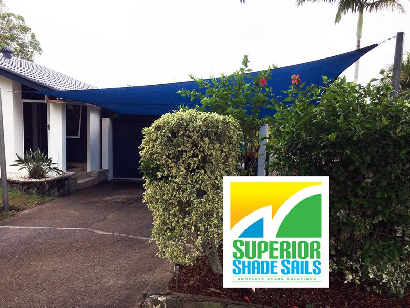 5 Point carport sail installed by Superior Shade Sails in
