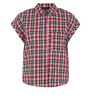 Blue Pattern (Blue) Blue Check Boxy Shirt | 305887549 | New Look