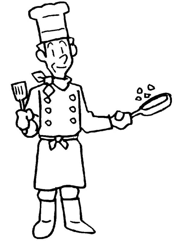 An old cook in Community Helper Coloring Pages free