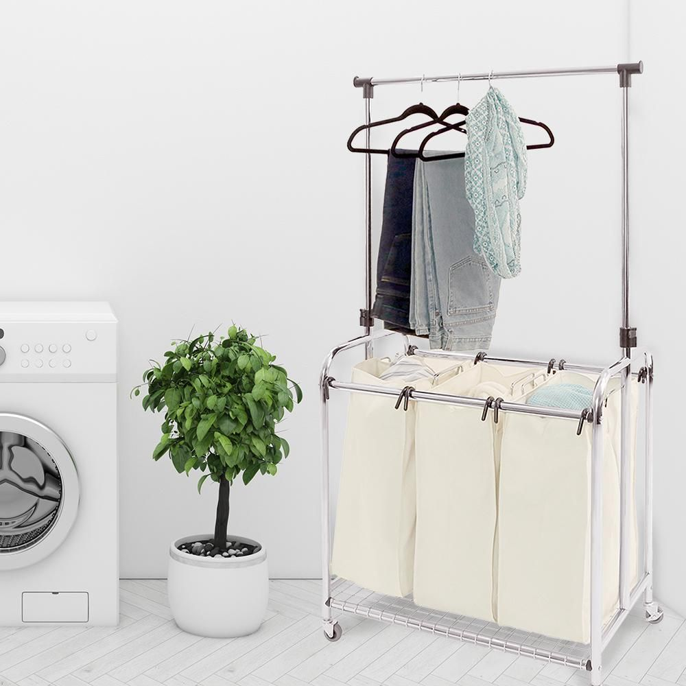 Seville Classics 3 Bag Heavy Duty Laundry Hamper Sorter Cart With Clothes Rack Web153 Laundry Sorter Hanging Bar Laundry Hamper