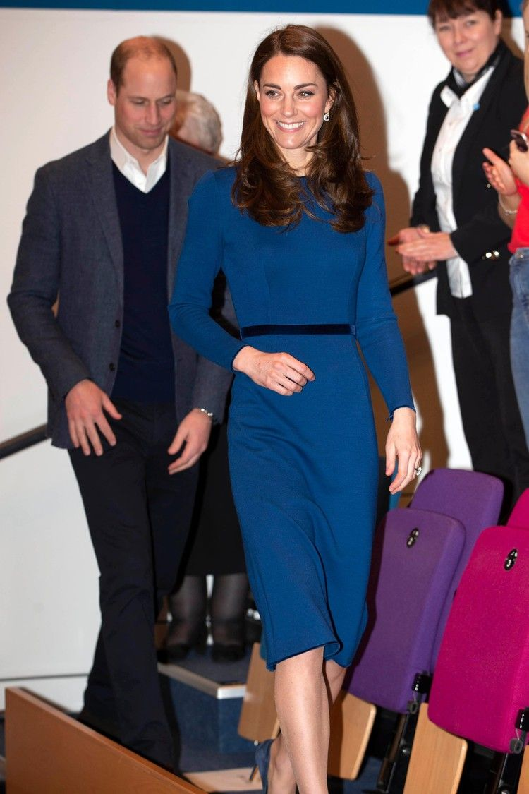 Kate Middleton S Sapphire Dress Was Practically Made To Go With Her Engagement Ring Popsugar Jenny Packham Dresses Kate Middleton Style Duchess Kate
