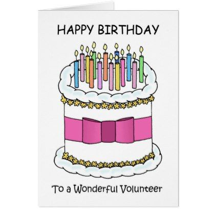 Volunteer Birthday cake with lit candles Card