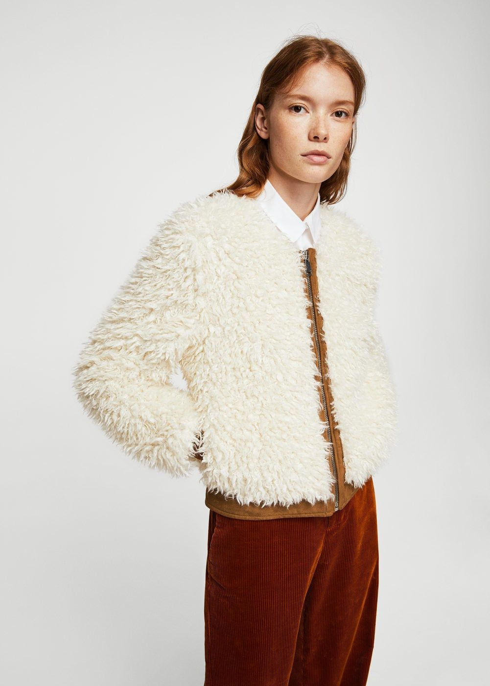 Faux shearling mixed jacket - Women  928d42dd4