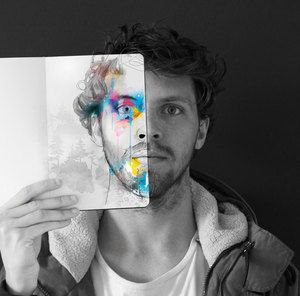 cool portrait, painted portrait, illustrated portrait, Half face portrait, Beautiful portrait