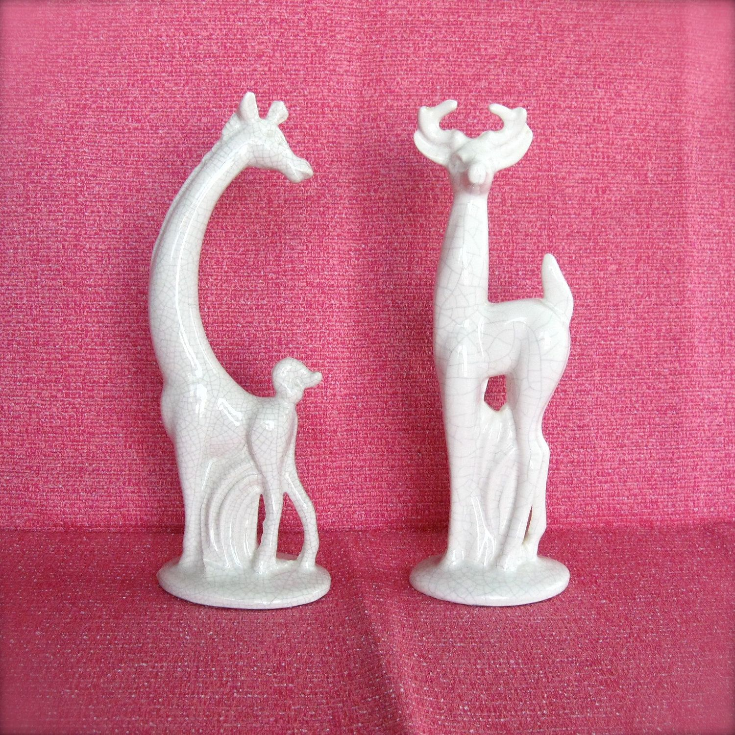 Animal Figurines Home Decor Vintage Mid Century Deer And Giraffe Figurines White With