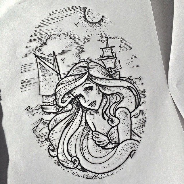 Tattoo Designs Up For Grabs: Up For Grabs #thelittlemermaid #dotwork #disney