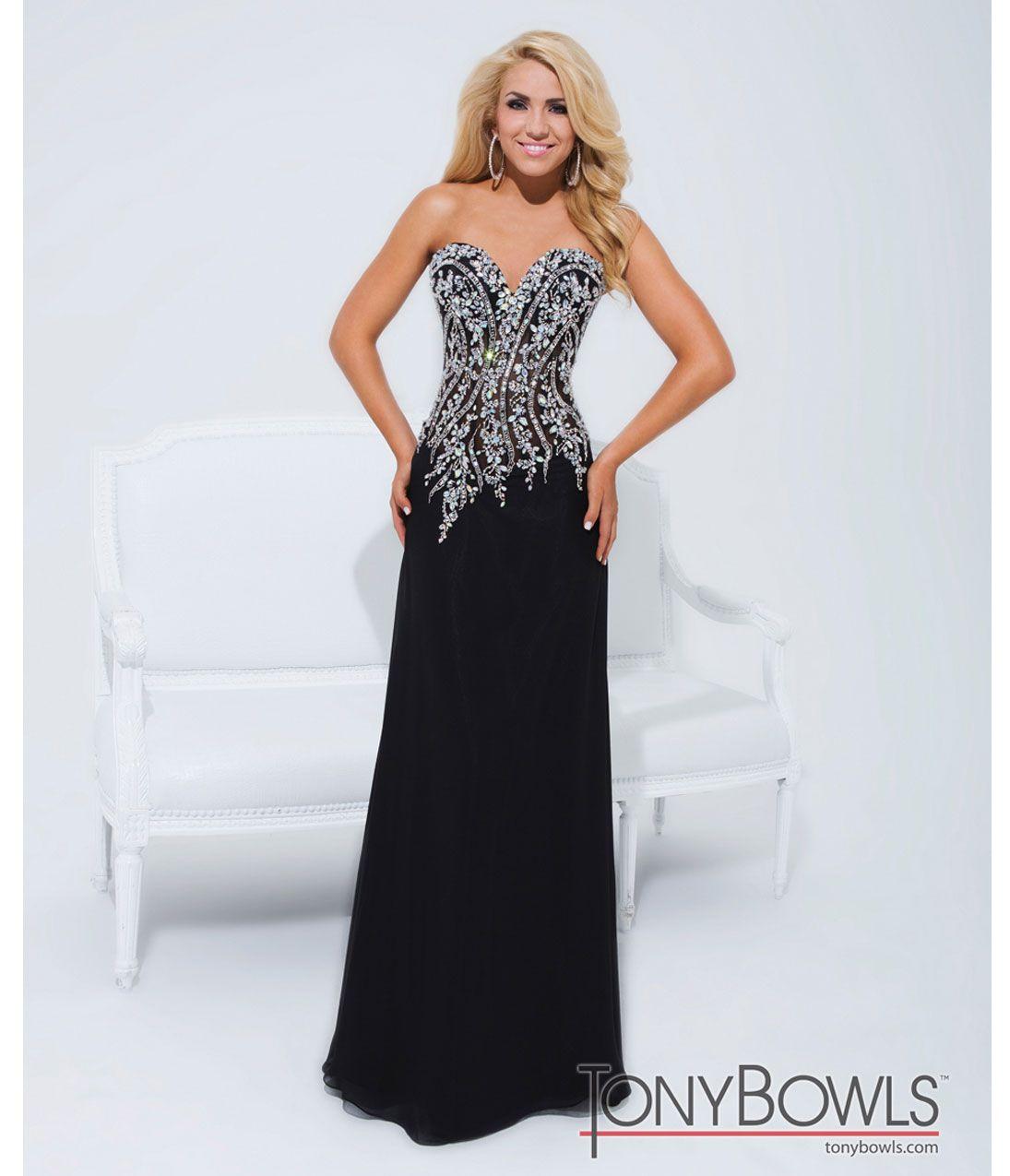 Tony Bowls 2014 Prom Dresses - Black Rhinestone Beaded Strapless ...