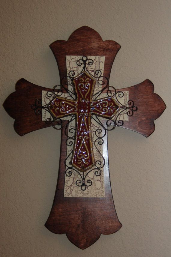 Large+stained+wood+decorative+cross+by+1crossesandcreations,+$75.00
