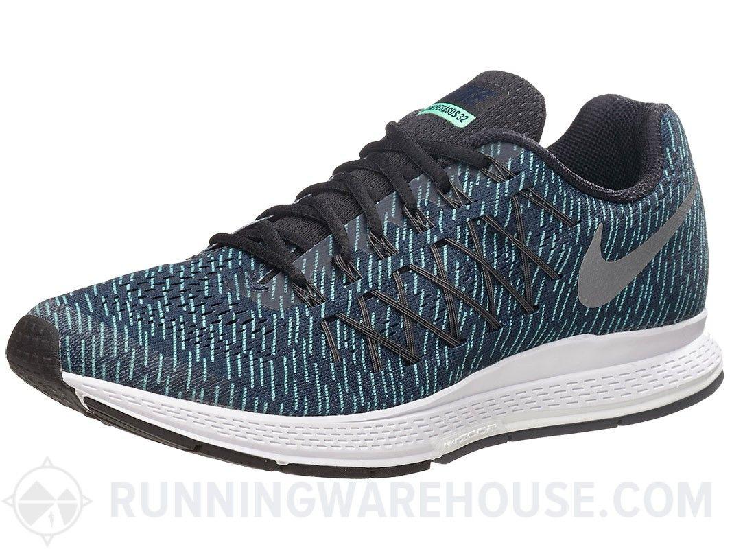 Nike Zoom Pegasus 32 Para Hombre Zapatos De Impresión De Obsidiana / Grn / Sil