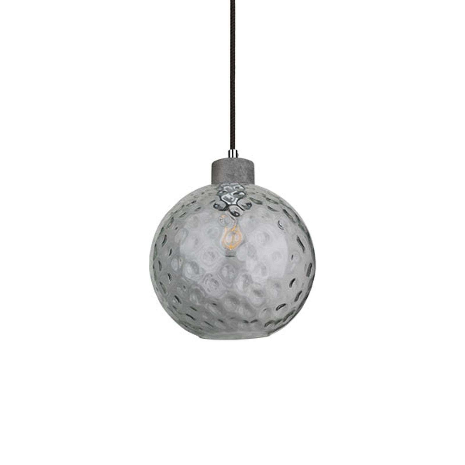 Clean hanglamp met glazen bol en beton | Beton, Verre et