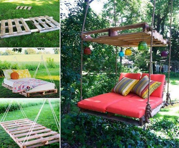 DIY Outdoor Pallet Swing Bed tutorial
