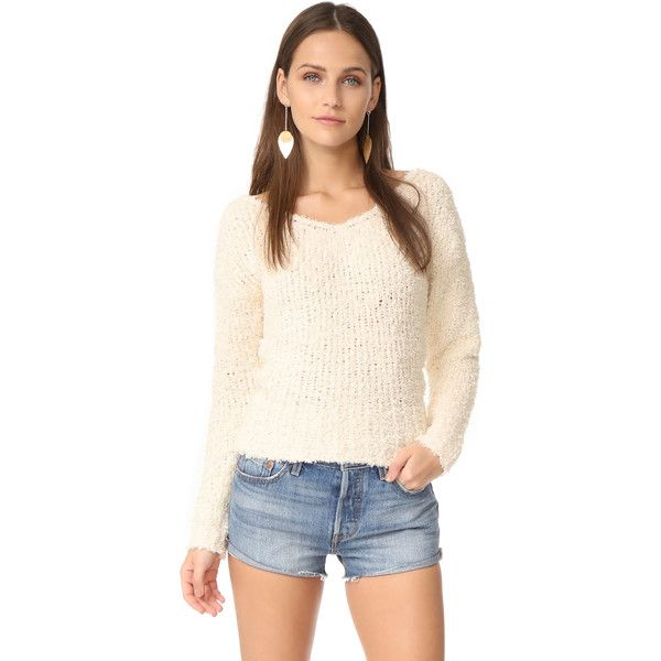 293a8cfb5b6e Elizabeth and James Women s Wyatt V Neck Sweater Boucle knit nylon Dry  clean Width   from center back