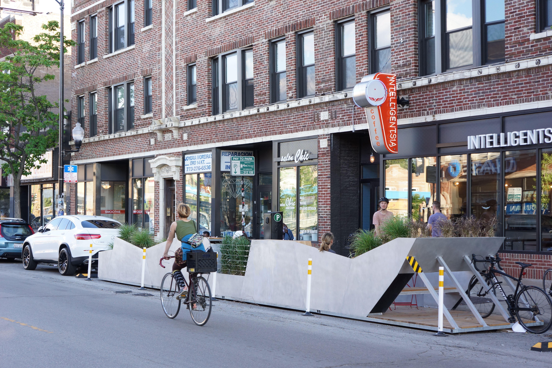 New Parklet in Logan Square Design, Logan square, Street