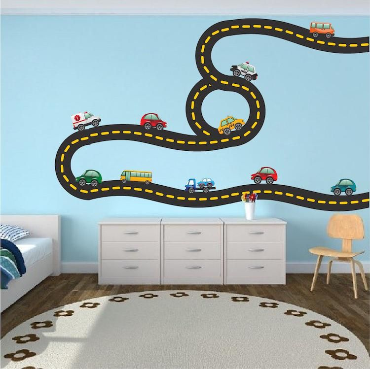 Cars And Race Track Wall Decal Kid S Bedroom Racetrack Wall Decor Removable Car Stickers B41 Kids Wall Decals Race Car Bedroom Cars Room