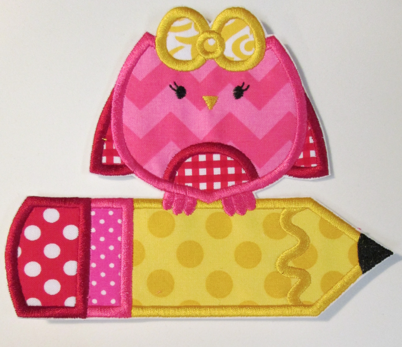 Hang to dry applique sweet girl owl with pencil school stuff