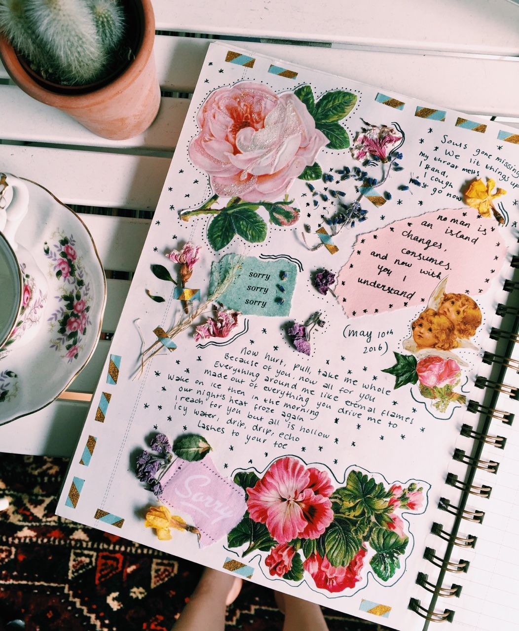 Scrapbook ideas with flowers - Dreamidle Back At It Again With The Flowers In My Journal Some Lines I Wrote