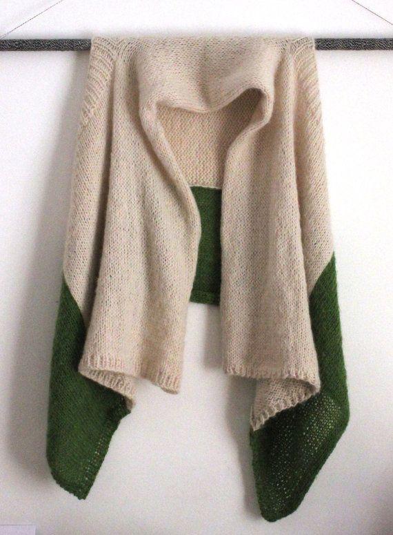 UNKU one-size color-block knit mohair wrap sweater // cream + avocado green