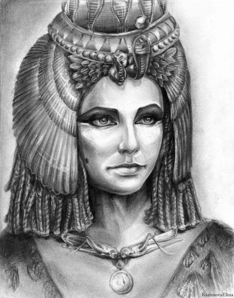 черно белые картинки царицы египетской