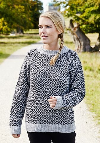 strikkeopskrift sweater dame