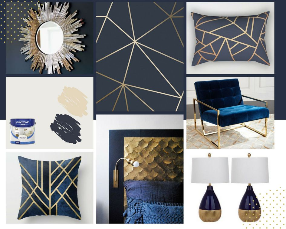 A Classic Look Inspired By I Love Wallpaper Zara Shimmer Metallic Wallpaper In Navy And Gold Matt Blue And Gold Living Room Gold Living Room Gold Bedroom Decor