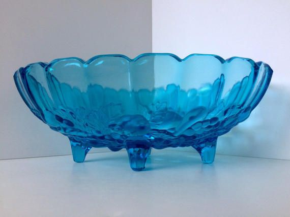 Glass Official Website Vintage Emerald Green Glass Serving Bowl Ruffle Ribbed Swirl Fluted Candy Dish