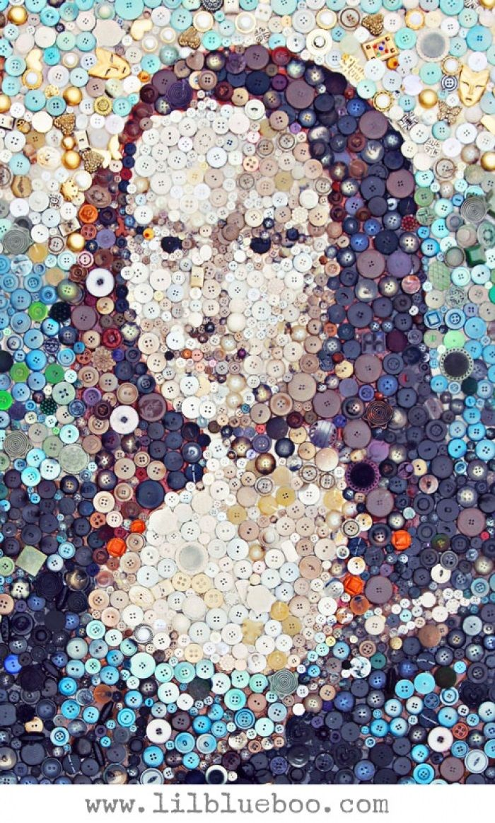 The Mona Lisa button art collage - art by Ashley Hackshaw (Lilblueboo), via Tú Lisa, yo Conda