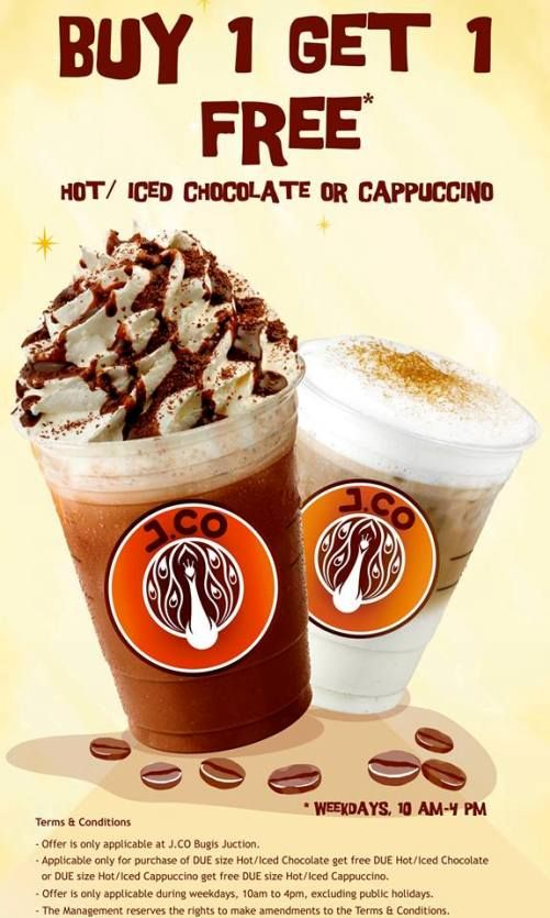 Buy 1 Get 1 Free Chocolate Or Cappuccino Promotion At J Co Donuts Bugis Junction Outlet This October Cappuccino Beer Promotion Iced Cappuccino