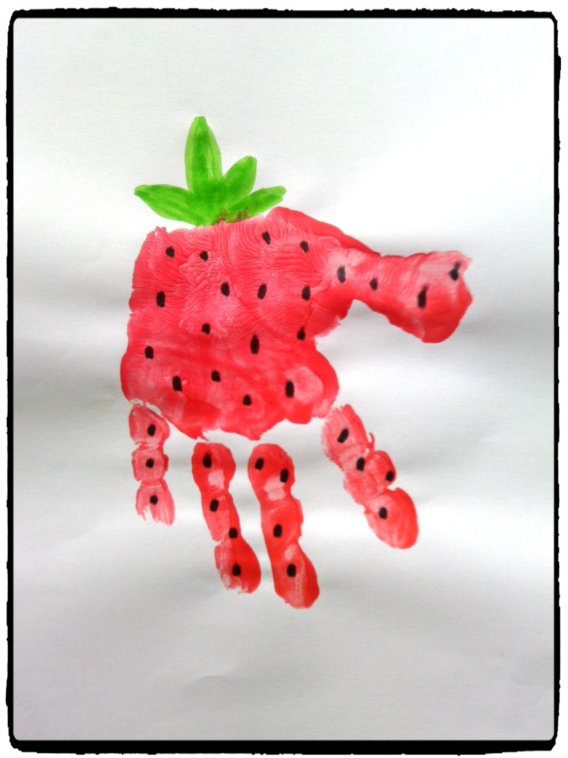fraise en empreintes de mains t activit enfant l 39 t pinterest empreinte activit s. Black Bedroom Furniture Sets. Home Design Ideas