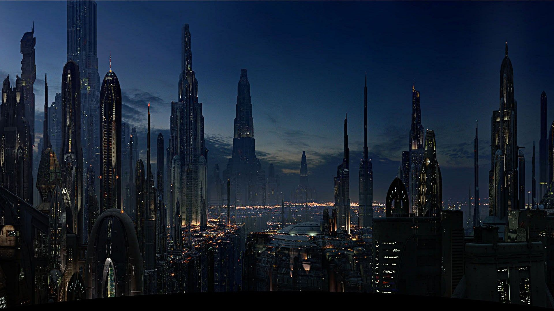Coruscant From The Movie Star Wars The Revenge Of The Sith Futuristic City Star Wars Wallpaper Star Wars Planets