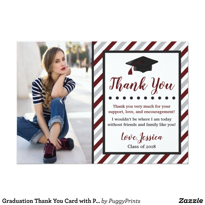 Graduation thank you card with photo maroon