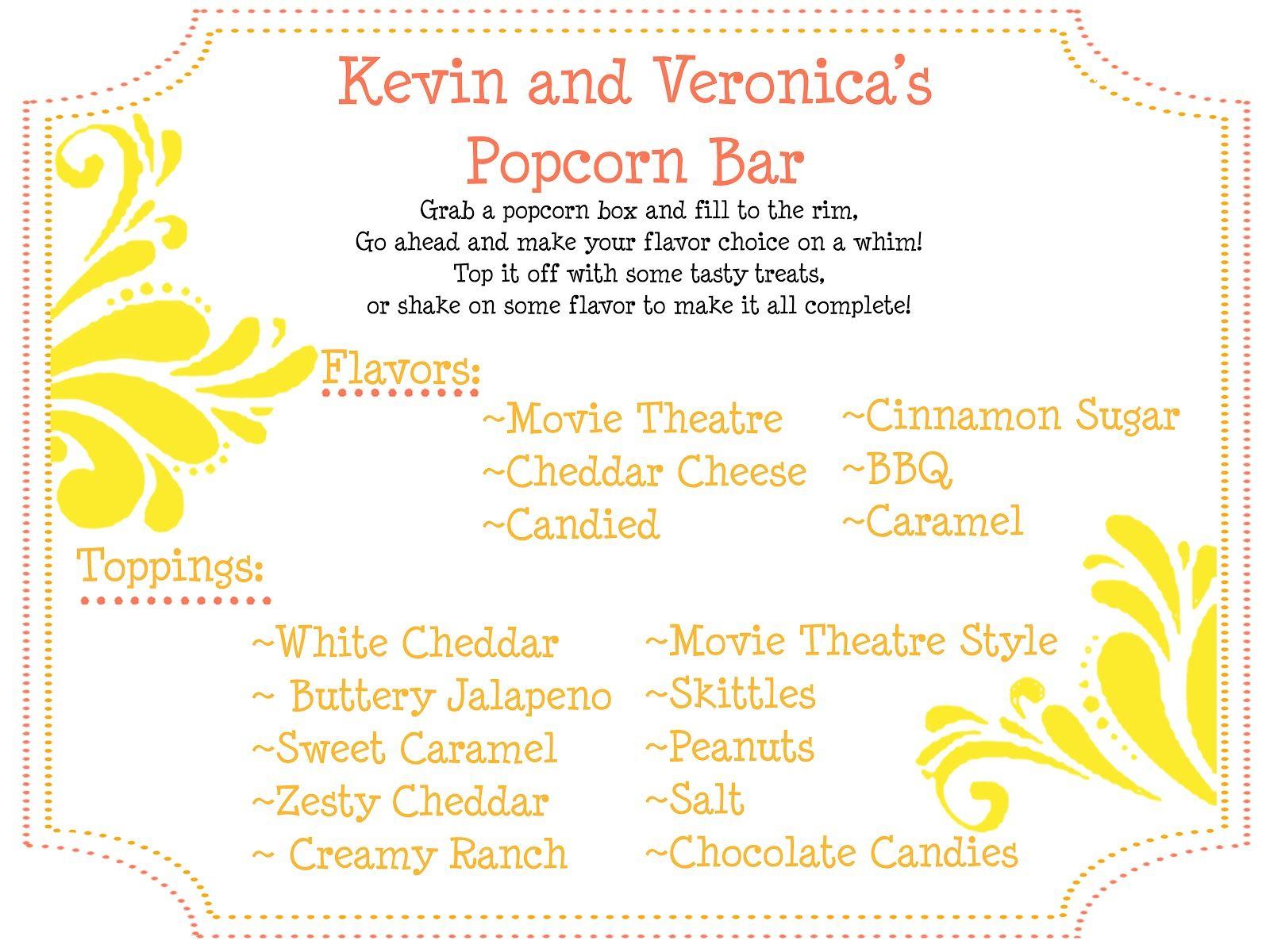 Popcorn Bar Sign with Popcorn riddle | Popcorn Bar | Pinterest ...