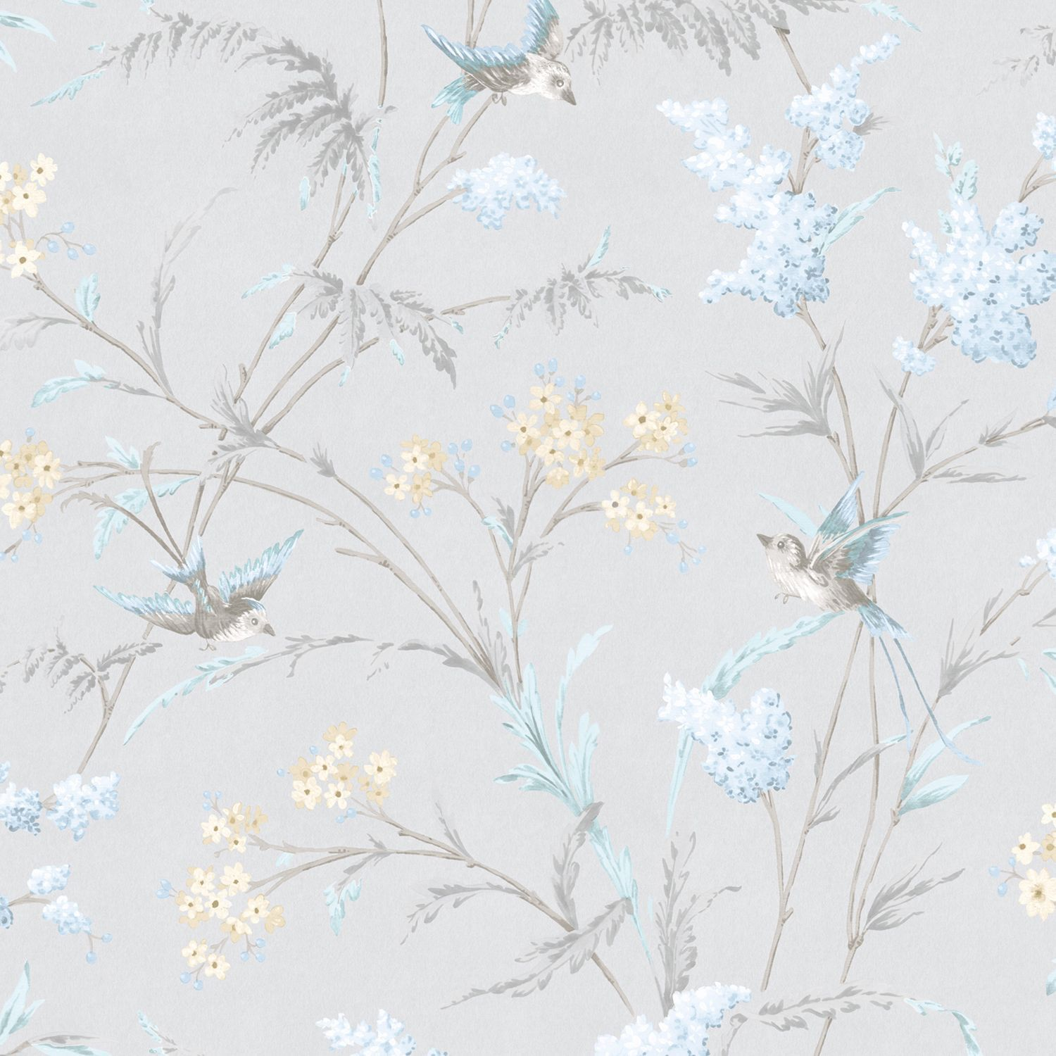 Hailey Grey Blue Floral Birds Glitter Highlight Wallpaper B Q