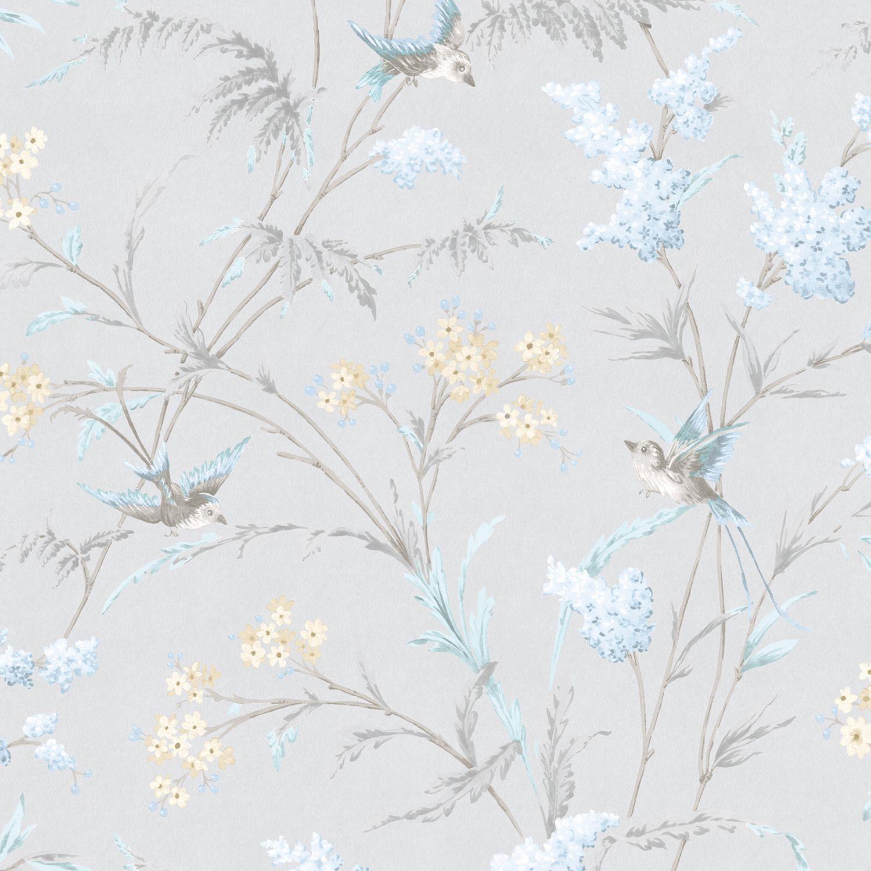 Hailey Grey & Blue Floral Birds Glitter Highlight
