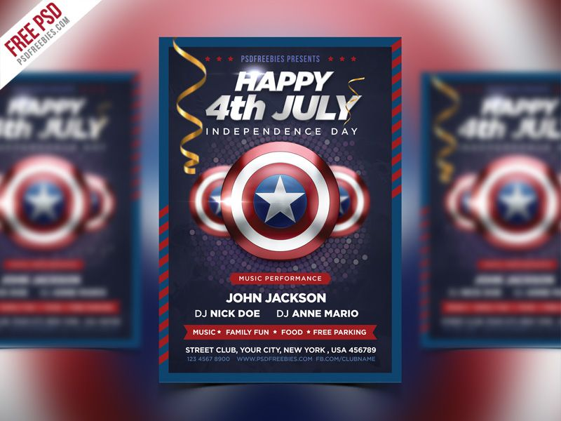 Nice 4th of July Event Flyer PSD Template Bundle Download Free - independence day flyer