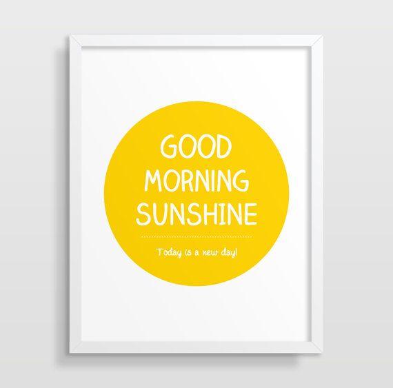 Good Morning Sunshine Wall Art, Typography Poster, Inspirational ...