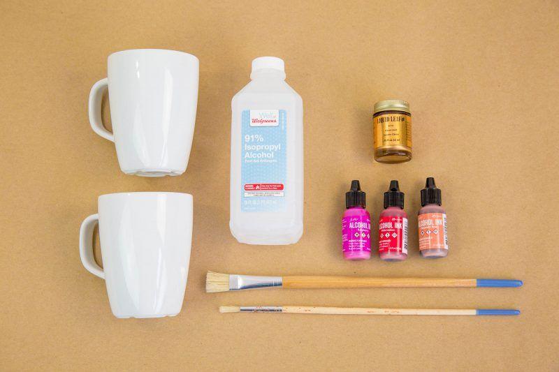 Diy Liquid Gold Leaf Alcohol Ink Mugs Alcohol Ink Glass
